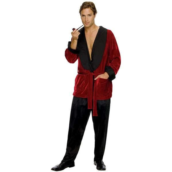 Red velvet jacket with pockets, belted tie at waist, satin collar - different halloween costume ideas