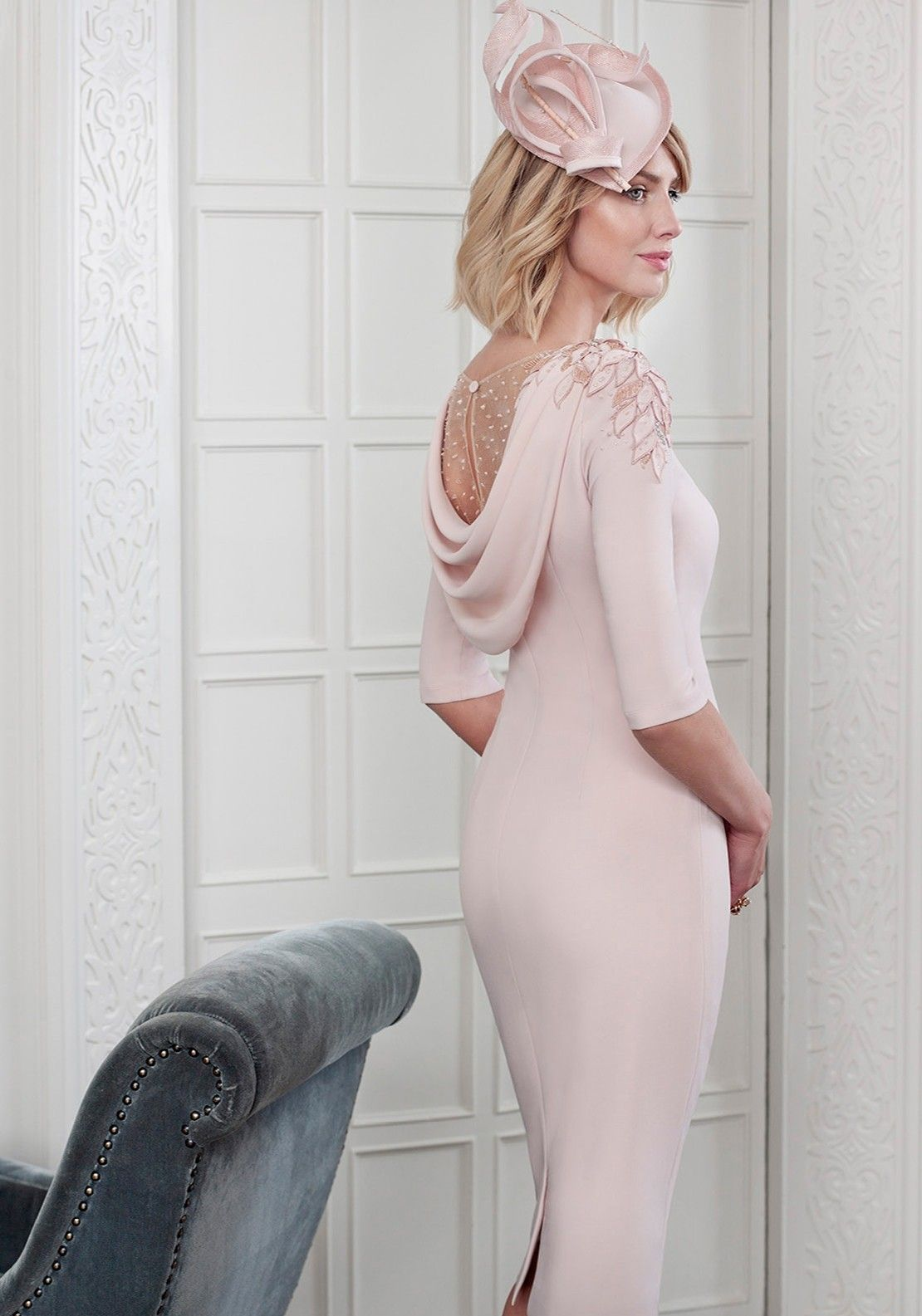 John Charles Applique Trim Cowl Back Dress Blush Pink Mother Of Bride Outfits Bride Clothes Mother Of The Bride Fashion
