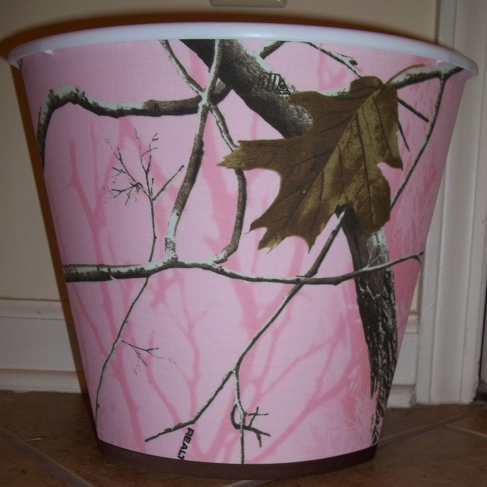 Delightful Pink AP RealTree Camo Wastebasket Made With Girls Fabric Real Tree  Camoflague Picclick.com