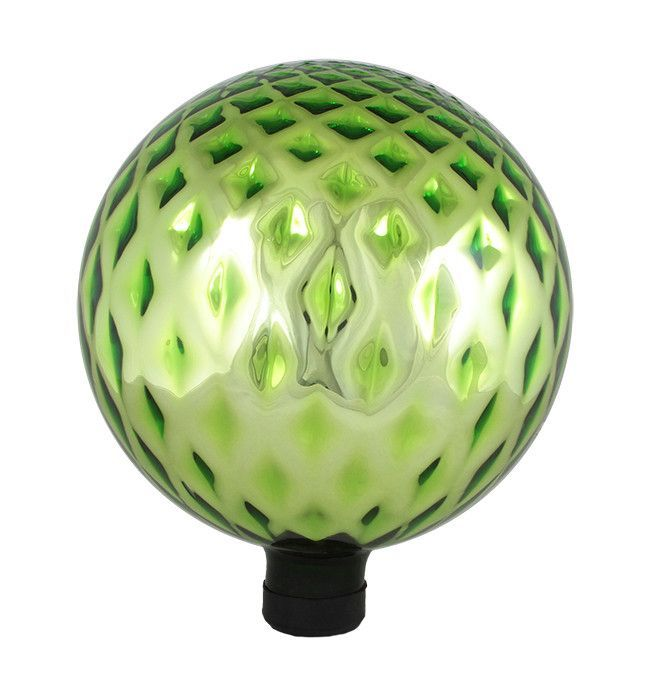 "10"" Lime Green Diamond Lattice Glass Outdoor Patio Garden Gazing Ball"