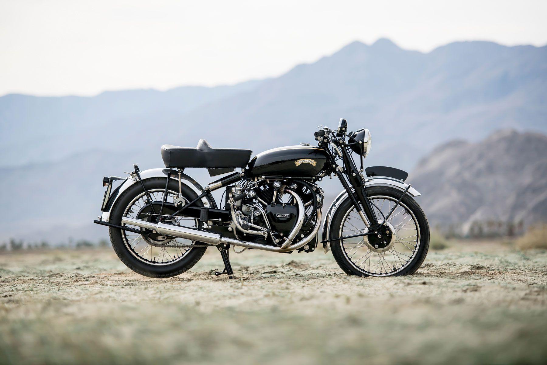 1951 Vincent Series C Black Shadow Profile Vincent Motorcycle Bike Art Black Shadow