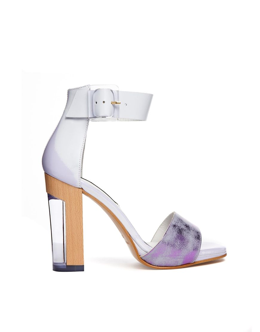 Lavender sandals shoes - Miista Lily Leather Ankle Strap Block Heeled Sandals