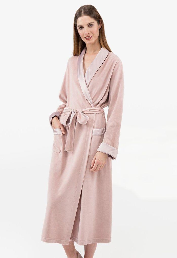 Ladies Mist Cotton Mix Velour Robe | Best Women\'s Dressing Gowns and ...