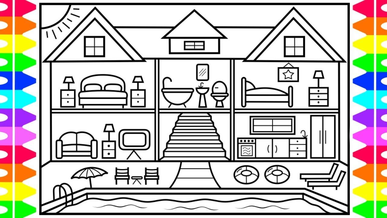 How to Draw a House with a Swimming Pool ️💜💚💙House with a