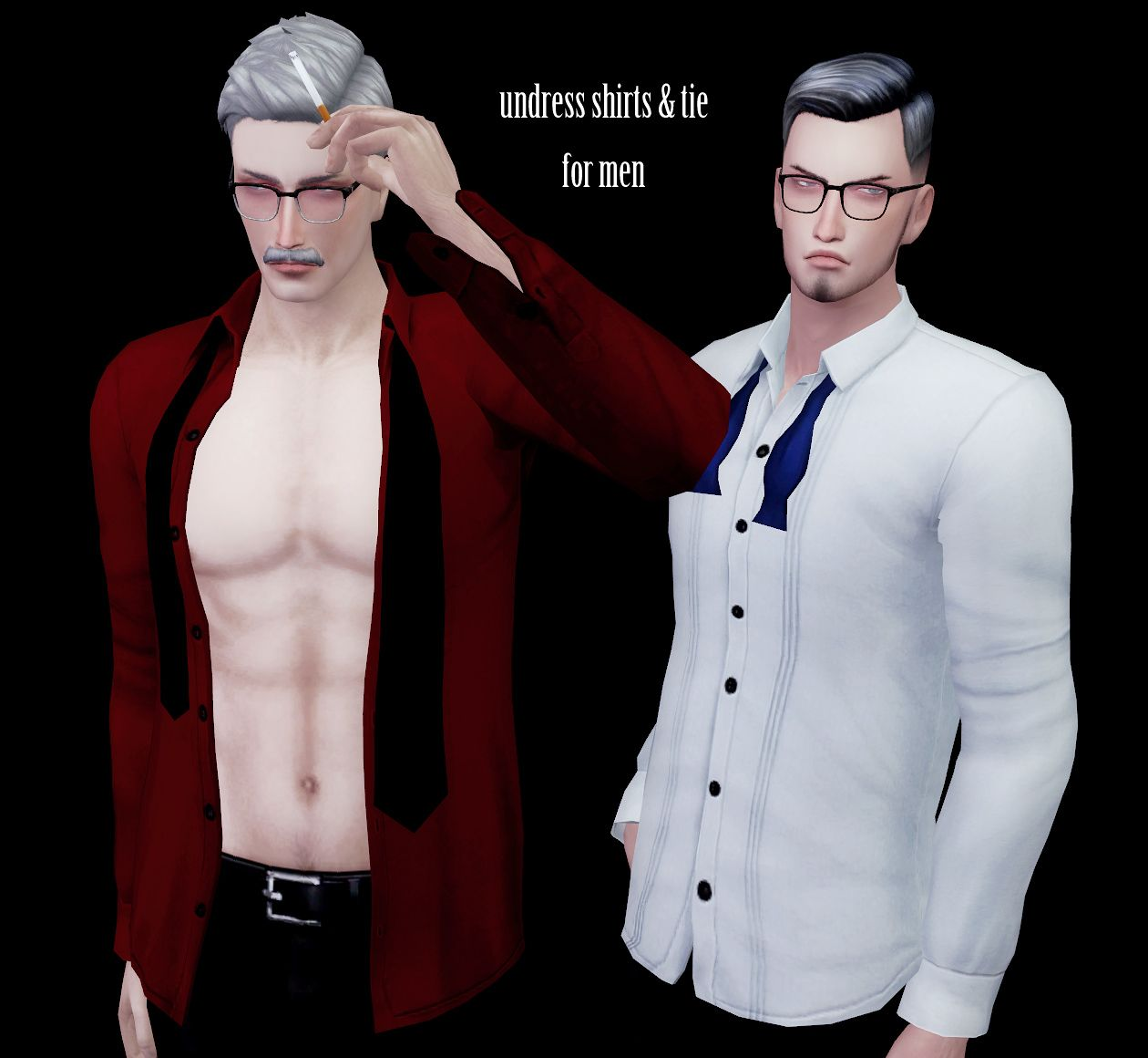 S:imadako tumblr-[undress shirts + tie set for    | sims 4 men's