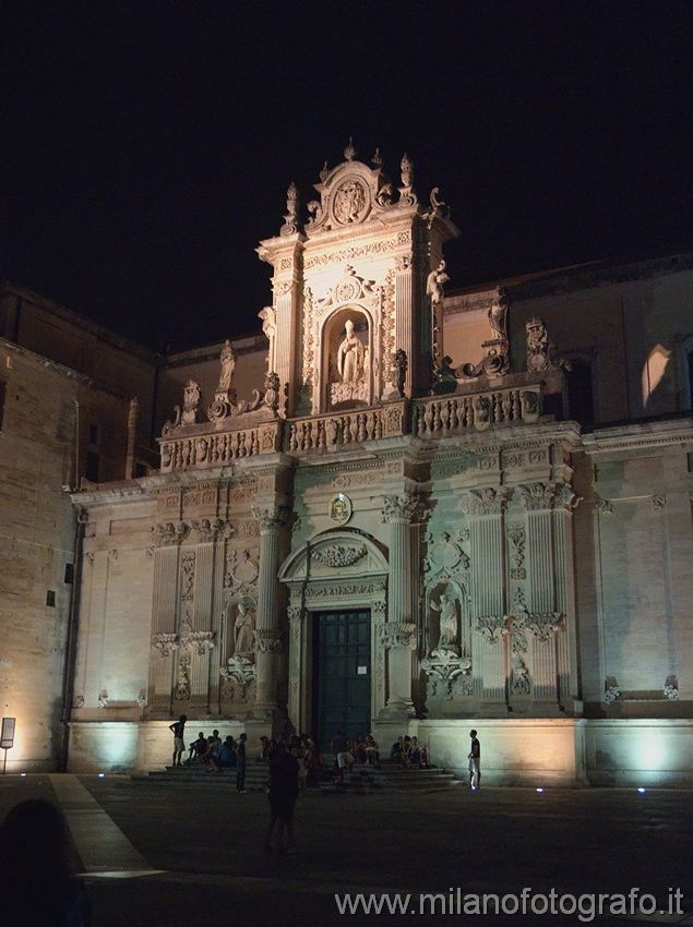 Secondary Facade of the Duomo of Lecce by night