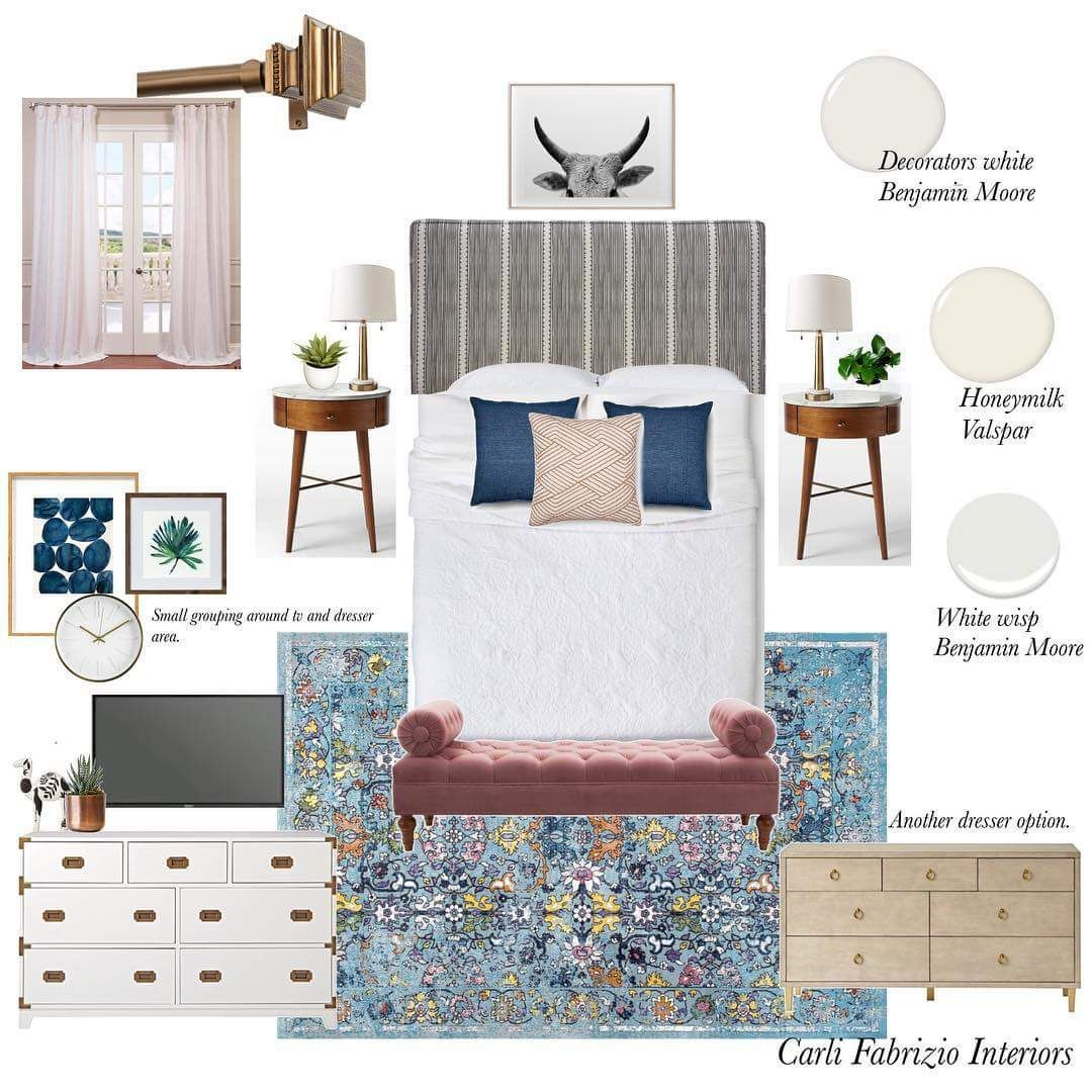 Master bedroom vision board. Carli Fabrizio Interiors  Home decor