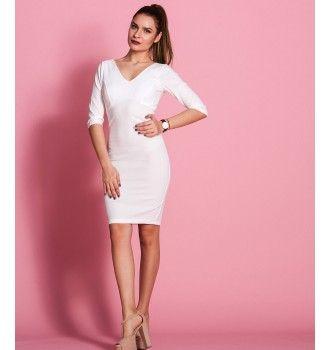 Στενό Midi Φόρεμα με Βε - Λευκό  5cb1dd702b8