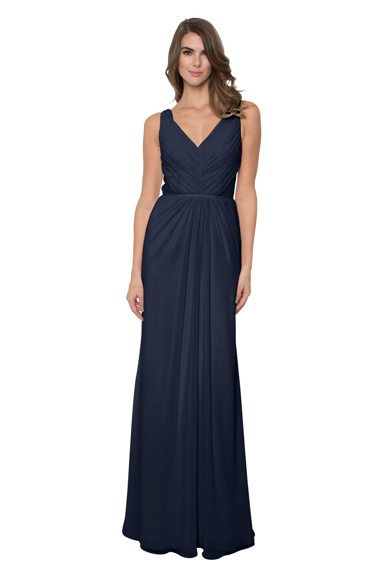 Monique Lhuillier Amelia Dress In Navy This Bridesmaid Is A V Neck Chiffon Gown With Beautiful Fl Lace Back That Wraps Around To Covered