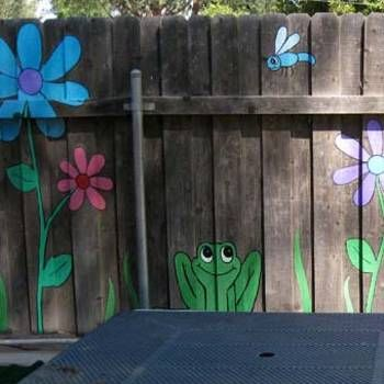 Colorful Painting Ideas For Fences Adding Bright Decorations