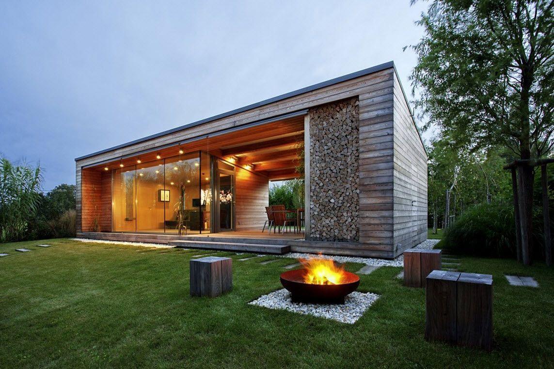 Diseño de cabaña construida en madera, moderna estructura exterior ...