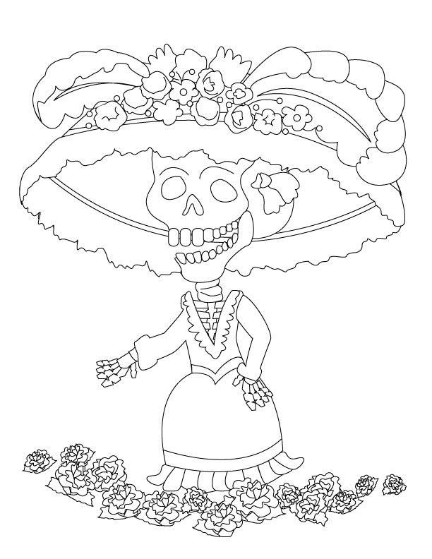 veryshareimg.com Dia De Muertos Para Colorear Catrina
