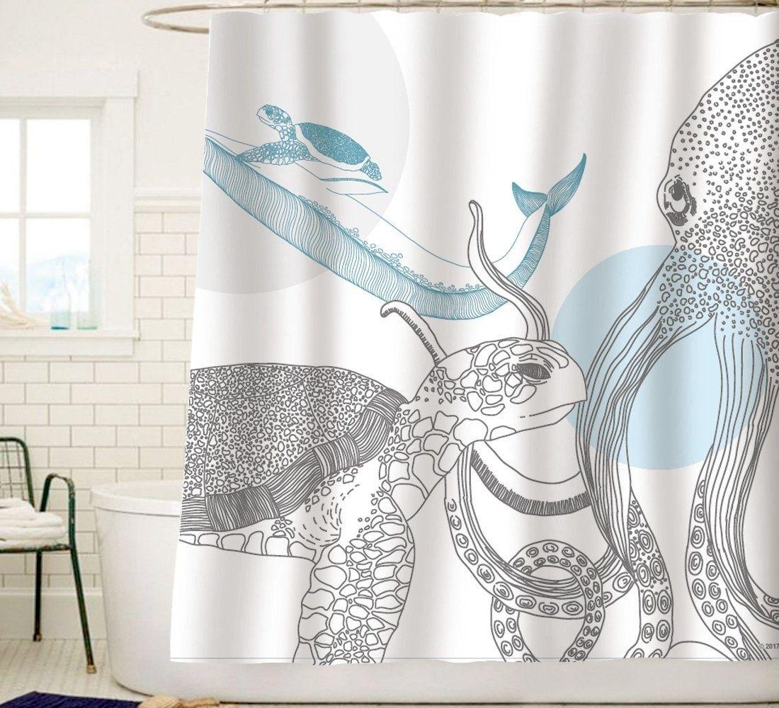 Sunlit Designer Ocean Animals White Fabric Shower Curtain With Sea