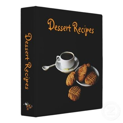This recipe binder will entice you with a plate of yummy peanut butter cookies and a demitasse cup of espresso complete with lemon peel. The cookies have the traditional crisscross pattern. It is set on a black background.  From Bebops on Zazzle!