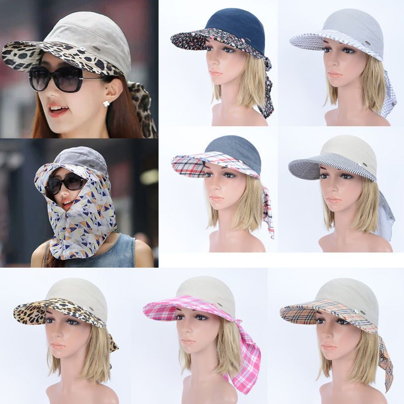 ed2300487d9 Anti-UV Summer Wide Brim Visor Cap Women Face Mask Neck Flap Wrap Beach Sun  Hat  UASU  WideBrim