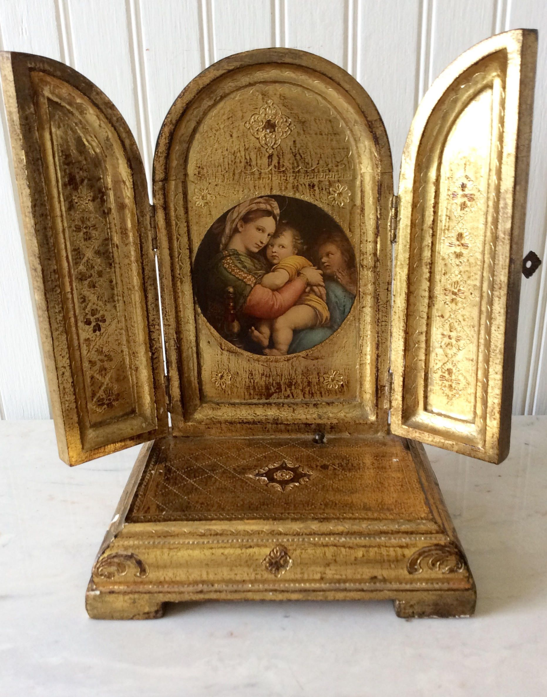 Vintage Florentine Italian Religious Triptych, Madonna & Child, Made In