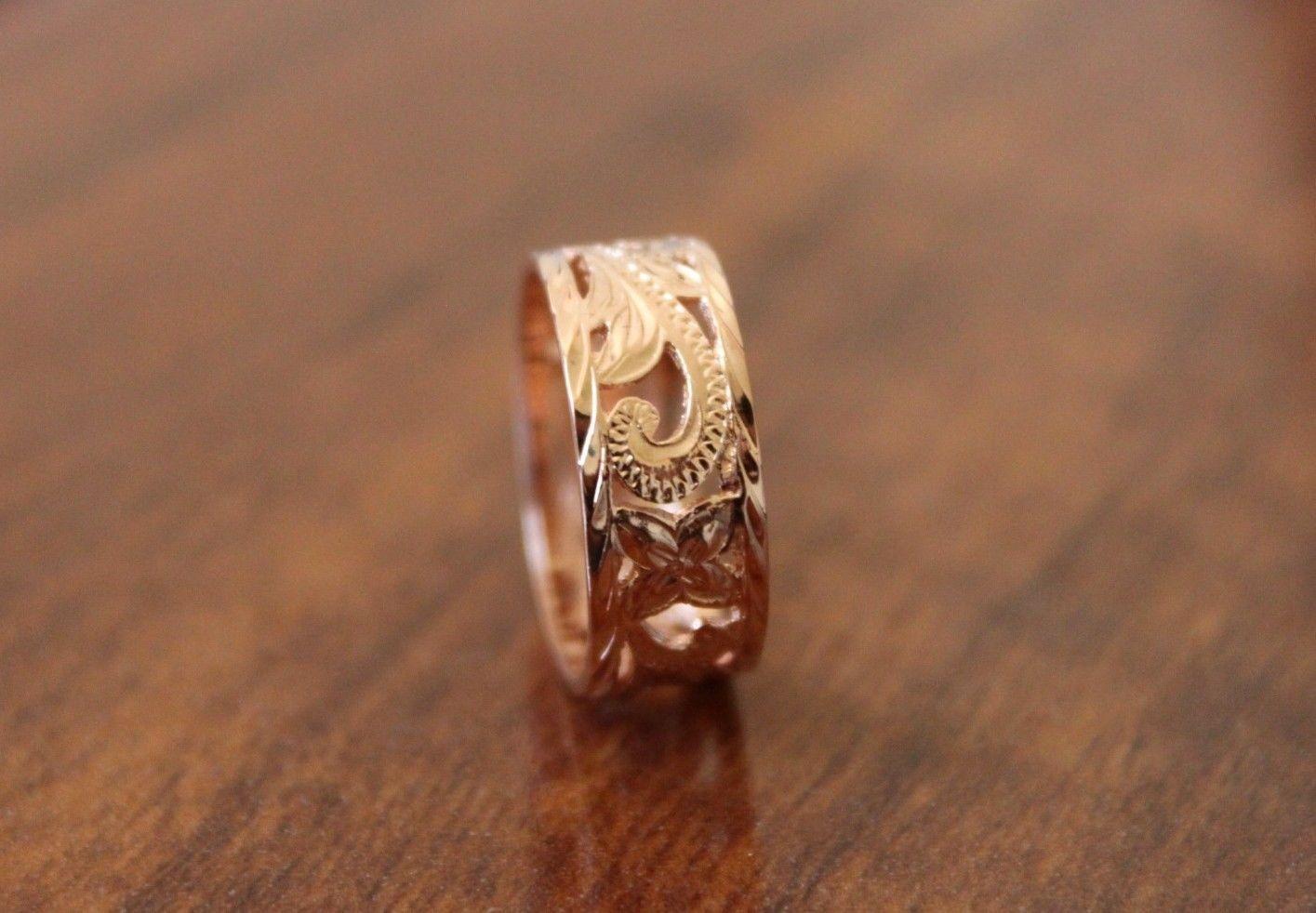 Hawaiian silver rose gold plated plumeria scroll cutout ring