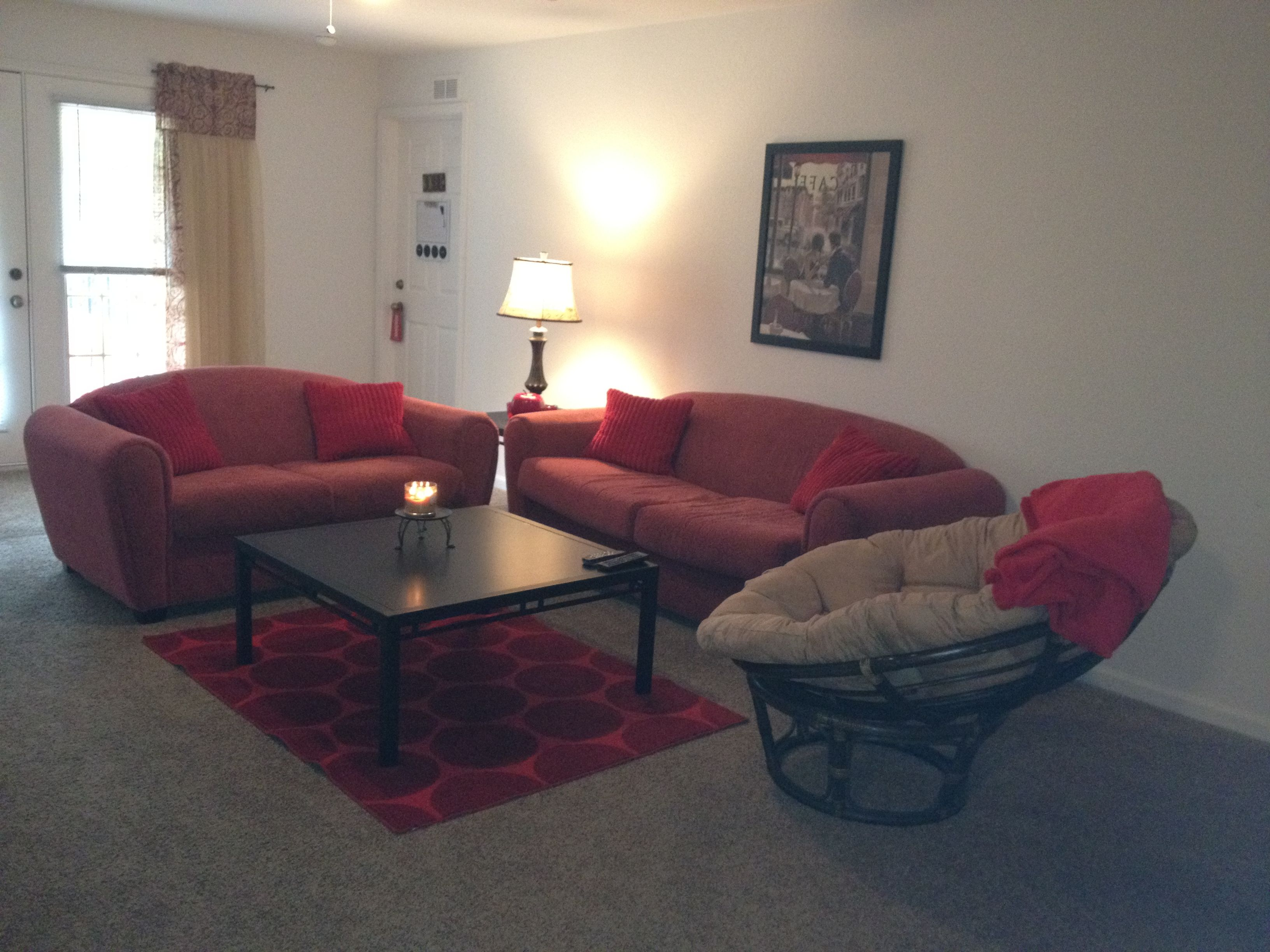 My College Apartment Living Room Pops Red