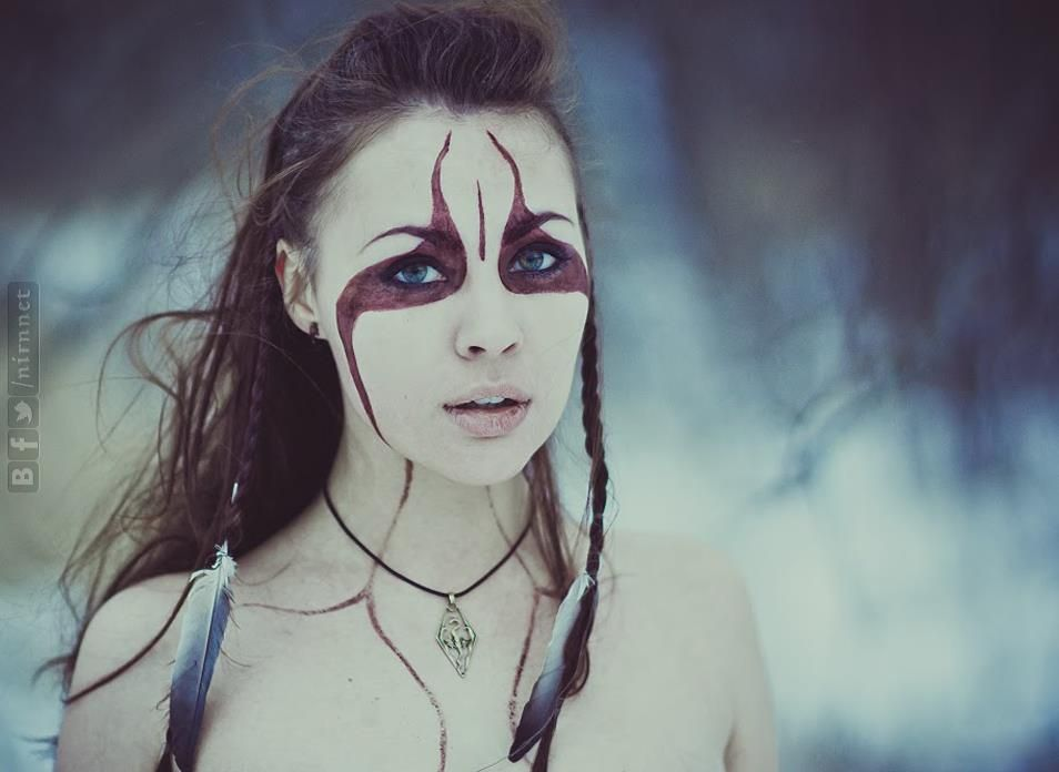 Celtic War Paint Patterns Brown haired warrior woman