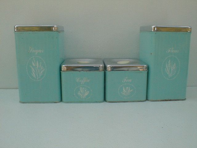 Vintage Kitchen Canisters Antique Old Vintage 4 Piece Metal