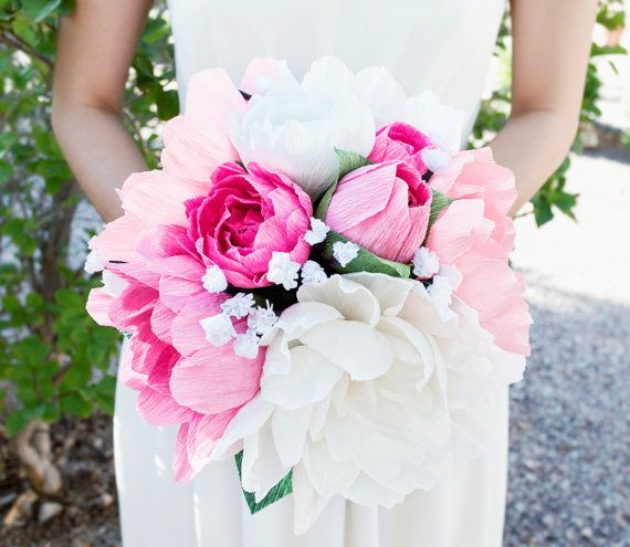 Handmade Crepe Paper Flower Bouquet Paper Flowers Wedding