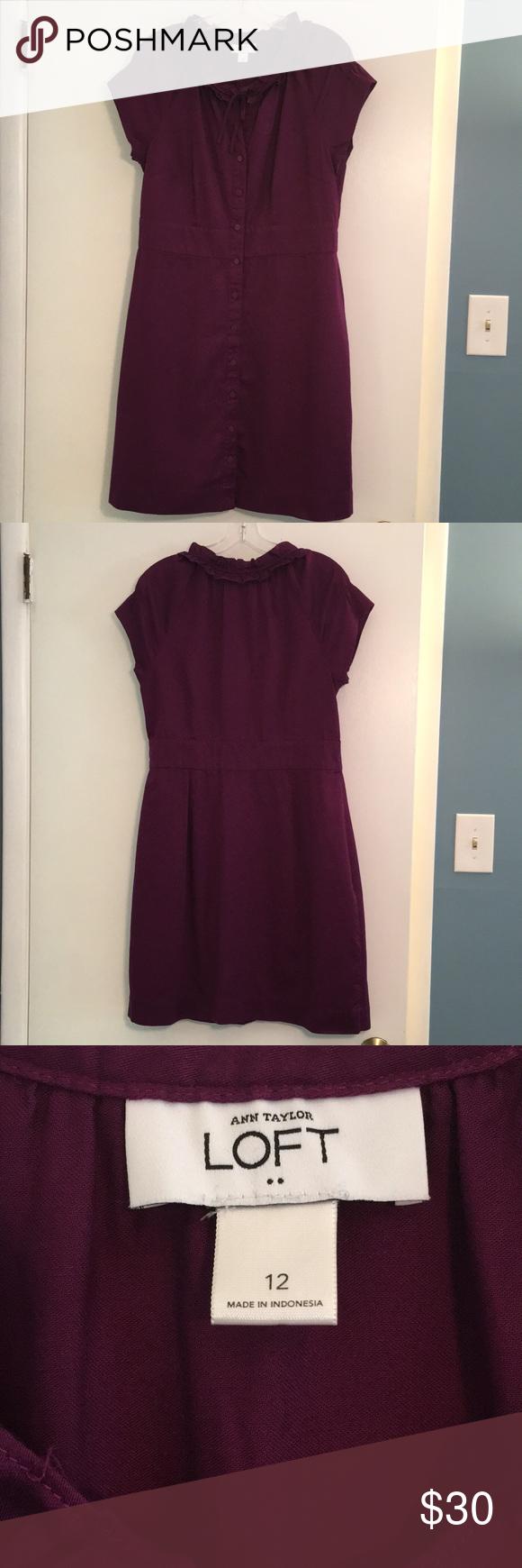 LOFT button up dress, purple, size 12