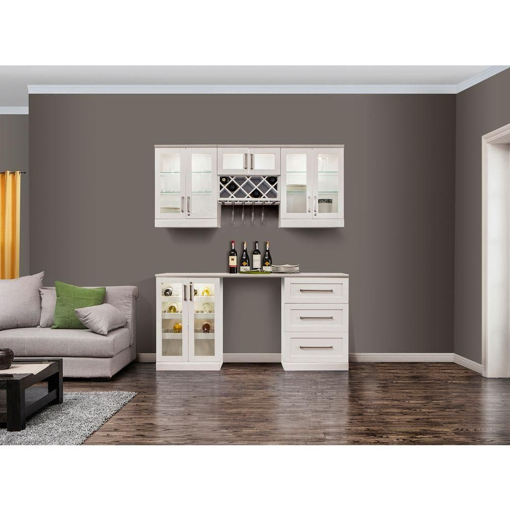 Newage Products Home Bar White 6 Piece Shaker Style Bar Cabinet In