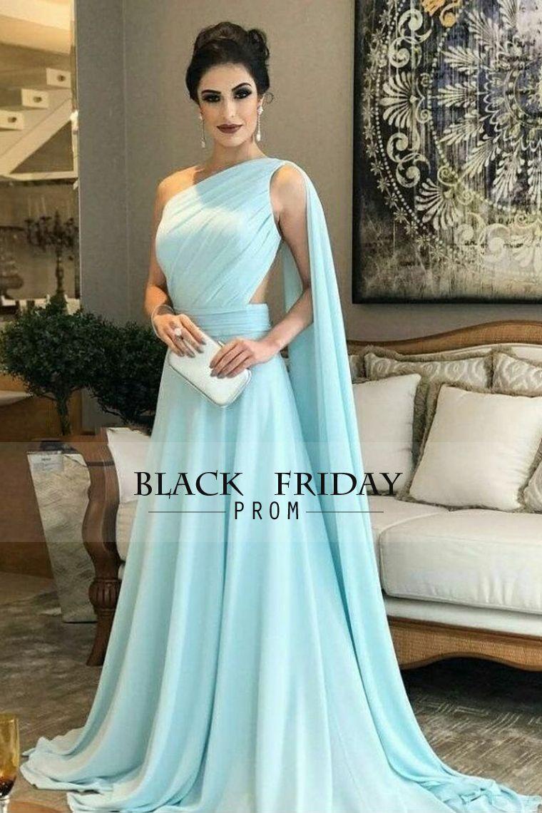 2018 Chiffon One Shoulder A Line Prom Dresses With Ruffles Sweep Train 7b556179a06a