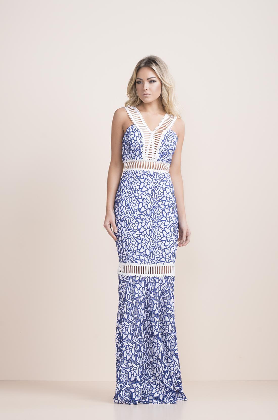 bded63a084 Vestido Longo Renda Azul e Branco Detalhe Alça