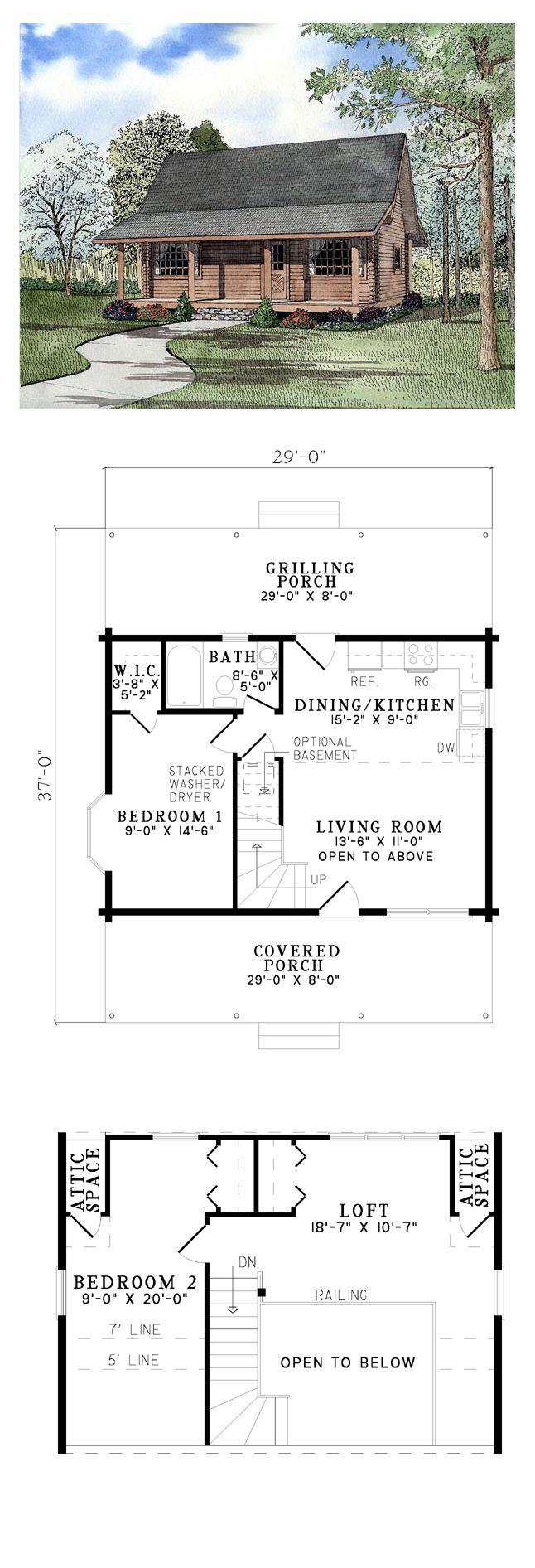Log House Plan 61147 Total Living Area 977 Sq Ft 2