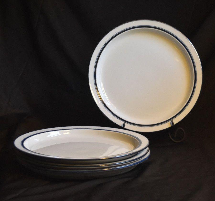 Dansk Bistro Christianshavn Blue 4 Dinner Plates Vintage Japan Niels ...
