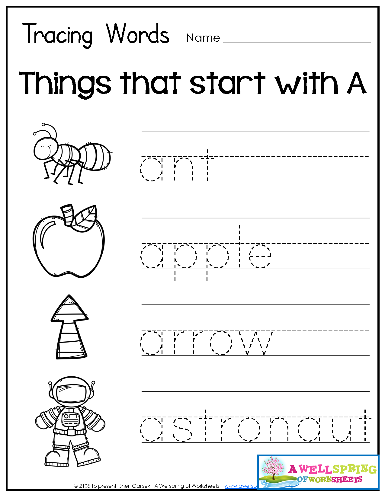 Tracing Words Things that Start with AZ Alphabet