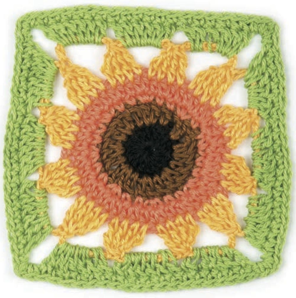 Crochet pattern: Sunflower granny square by May Corfield | Free ...