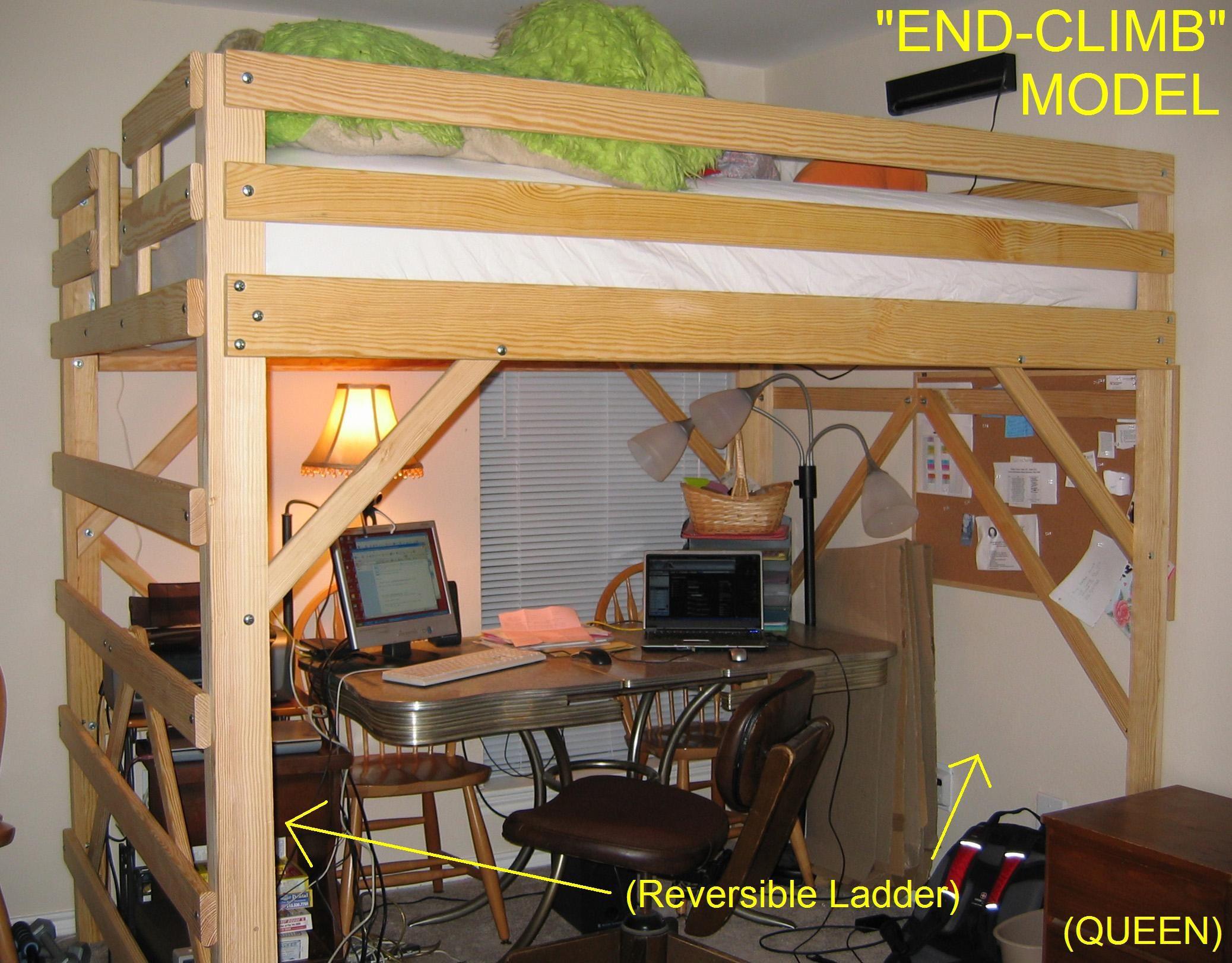 Queen Size Loft Bed Loft Bed Bunk Bed With Desk Queen Loft Beds