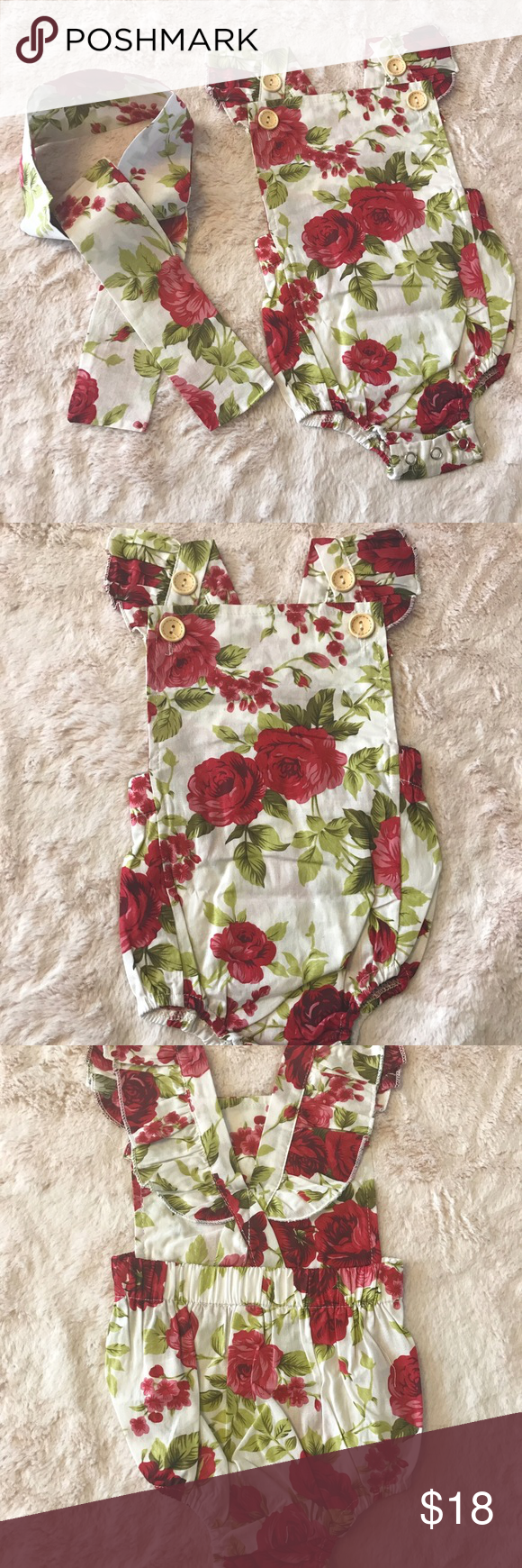 b739bc87af51 Baby Girl Jumper Romper Extremely cute romper with headband. Beautiful rose  pattern