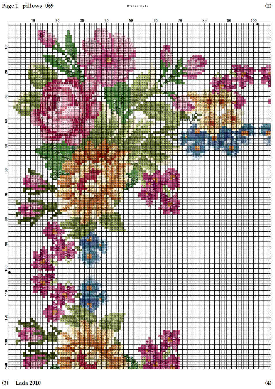 Cross stitch Sq. floral cushion part2