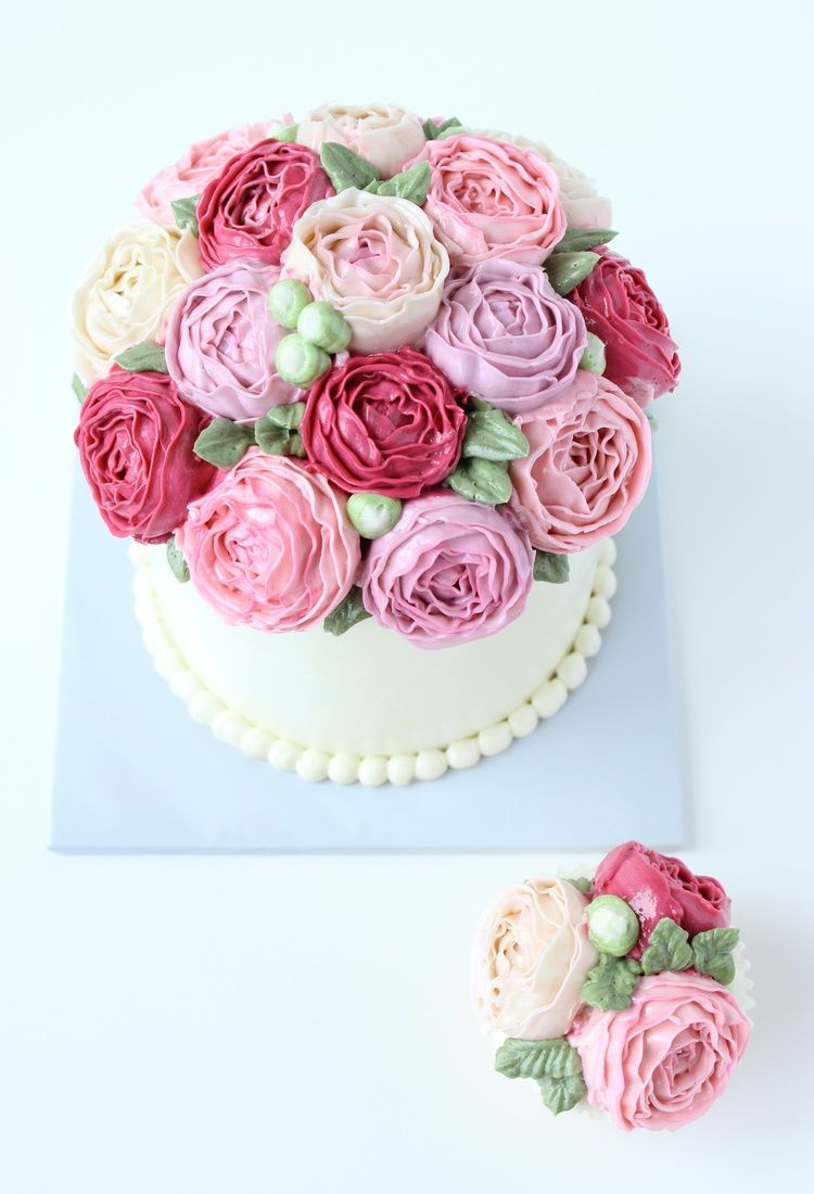 Pink Buttercream Bouquet Cake Buttercream Flower Cake Buttercream Cake Buttercream Cake Designs