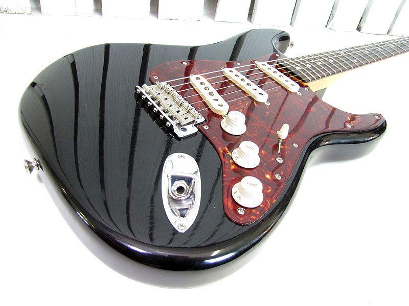 Axe Heaven Black Fender Stratocaster Black Pickguard Miniature Guitar FS-009