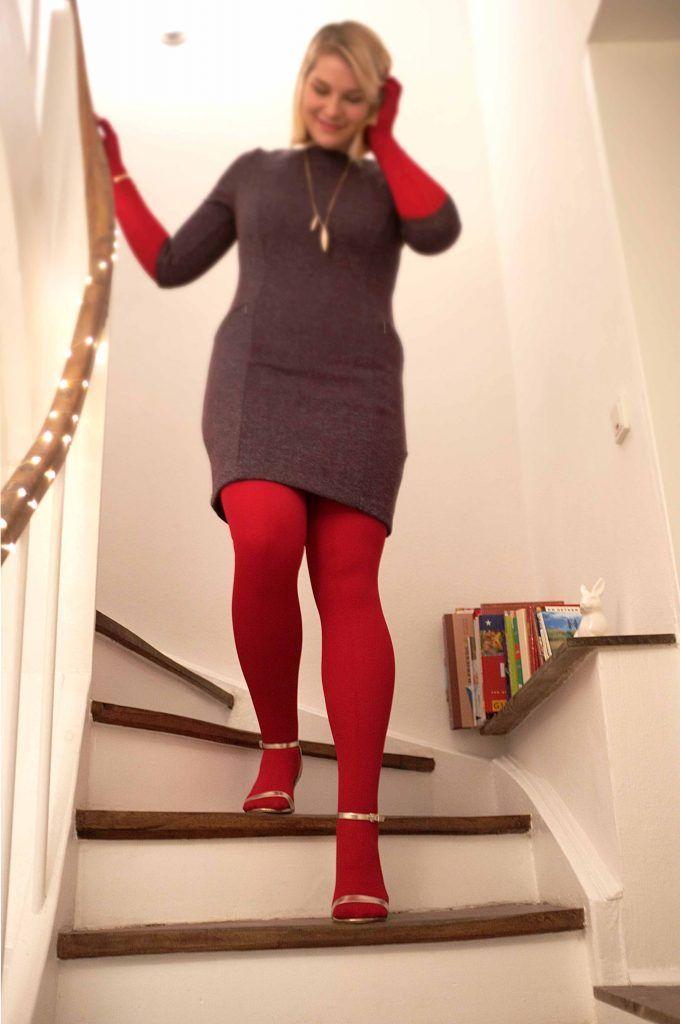 Outfit Kirschrot Es Wird Warm Und Festlich Festliches Outfit Kleid Mit Strumpfhosen Strumpfhosen Outfit