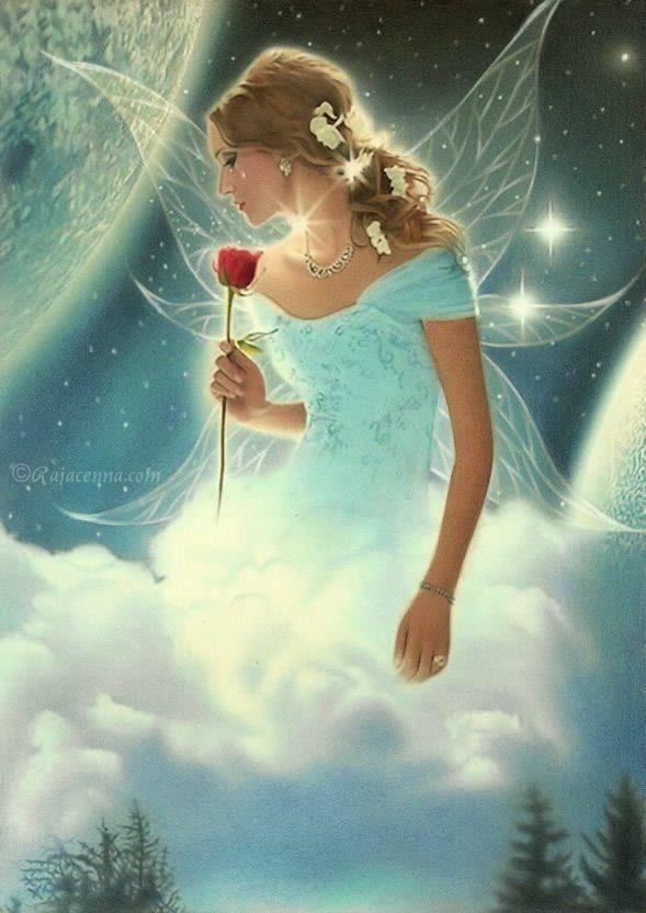 She rules the Clouds...#fantasy #faerie #fairy #clouds #rose #art