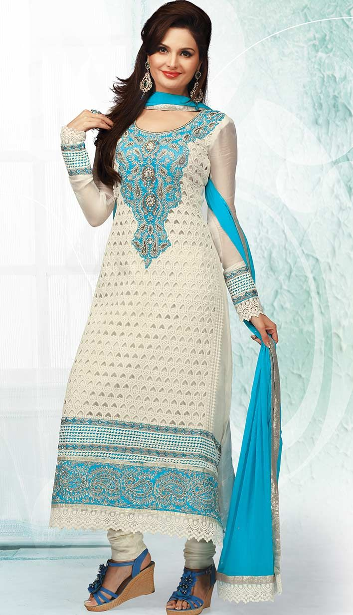 Fashionable Latest Off White Georgette Party Wear Dresses ...