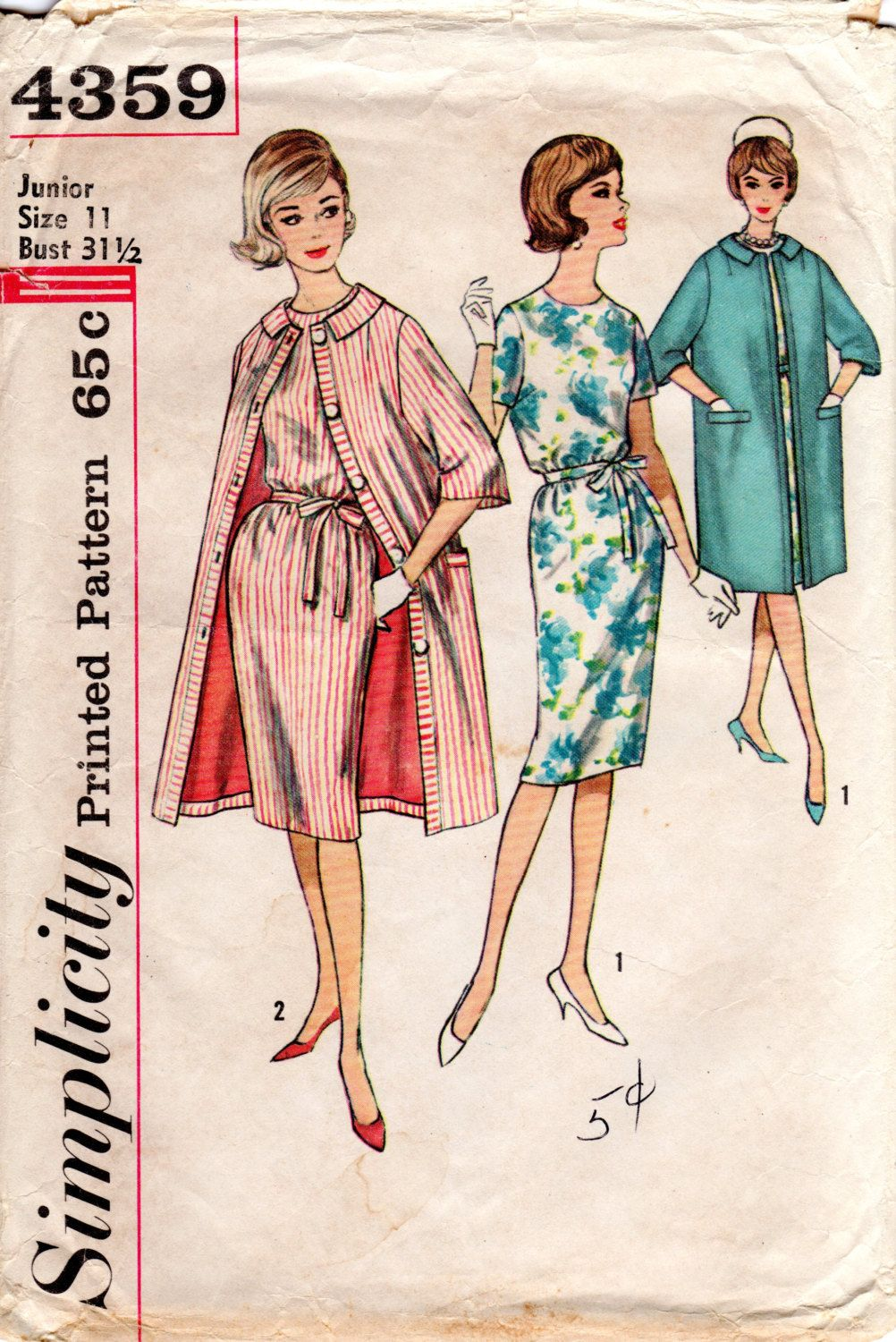 S simple dress and matching coat pattern vintage simplicity