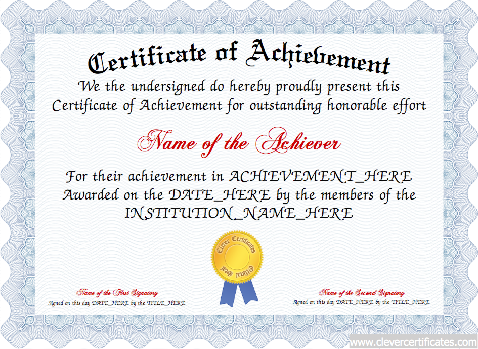 Free Customizable Printable Certificates Of Achievement Templates Of  Certificates Of Achievement Template, Customizable Printable Certificates  Certificate ...  Free Customizable Printable Certificates Of Achievement
