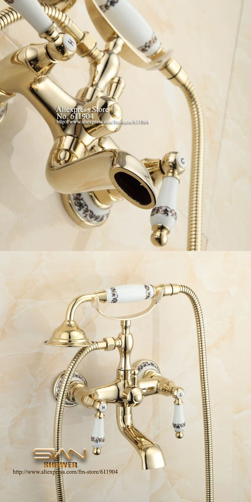 Chinese Ceramic Style Bathroom Clawfoot Bathtub Faucet Dual Lever ...