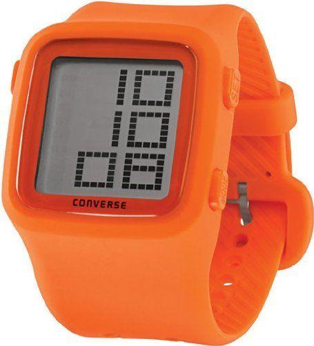 7211b76daf89e6 Converse Unisex VR002800 Scoreboard Icon Orange Digital Watch Converse.   59.99. Crystal printed logo. Orange silicone case and strap.