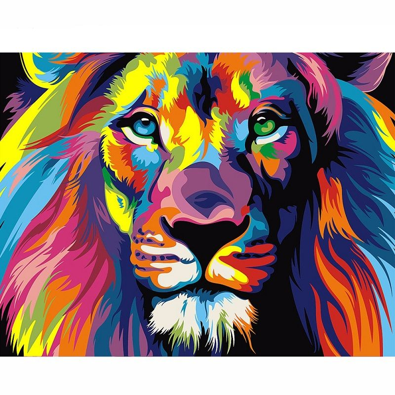 Color Painted Lion Diamond Painting DIY Animals Home Decor Mosaic Pictures Diamonds Embroidery Cross Stitch Handmade