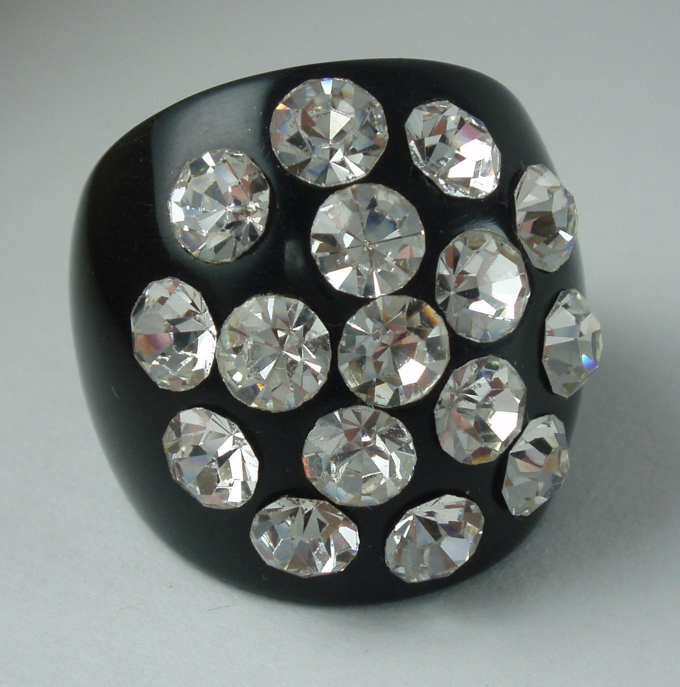 Vintage Black Lucite Clear Multiple Rhinestone Ring