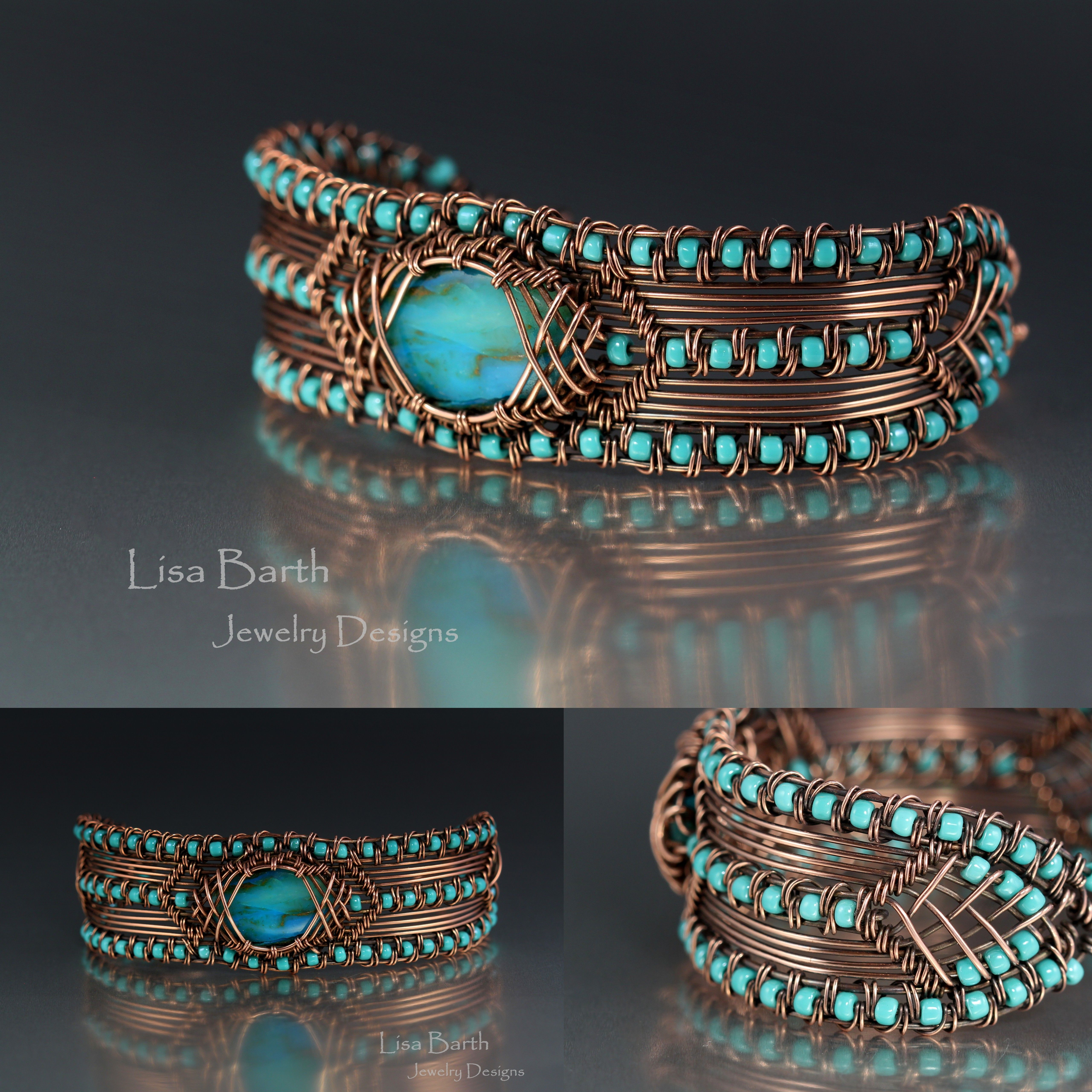 Hand woven copper bracelet with a Peruvian blue opal as the focal ...