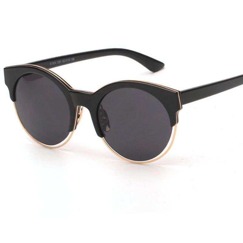 Aliexpress.com  Comprar Nueva marca de lujo del ojo de gato gafas de sol de  espejo semi sin montura de metal negro oval gafas de sol para mujeres  famosas de ... d888e560a797