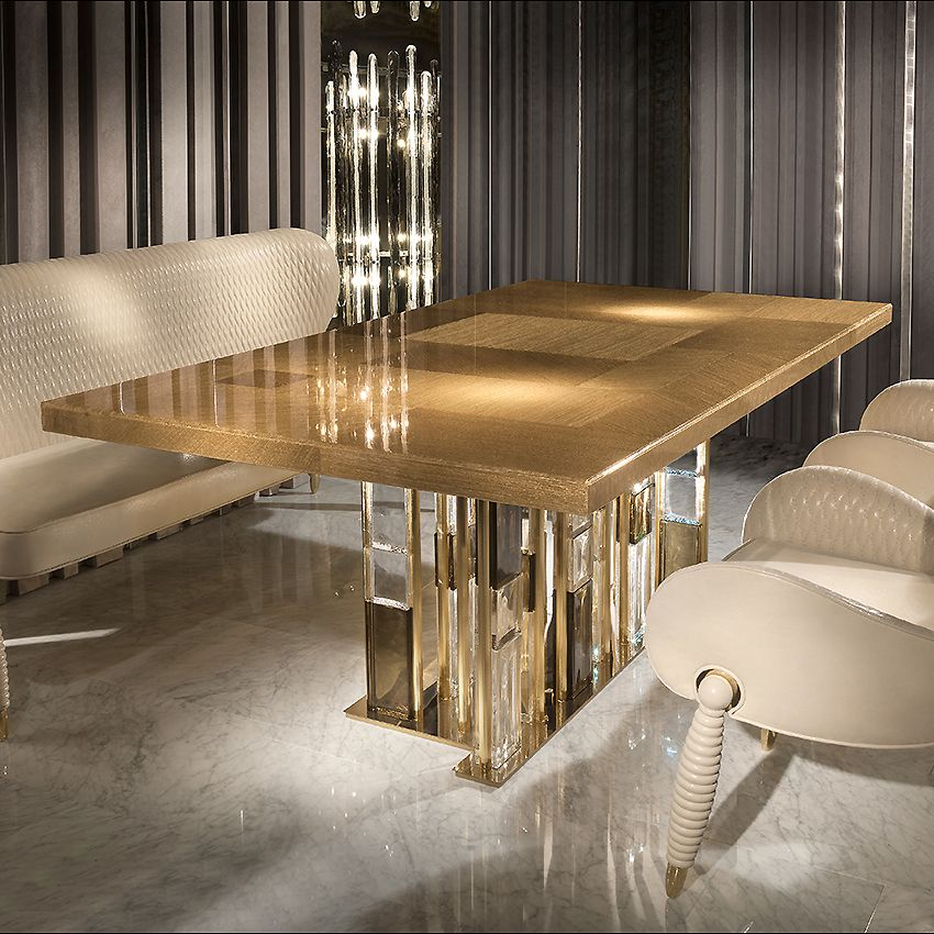 Luxury Dining Table - Gold Murano Glass